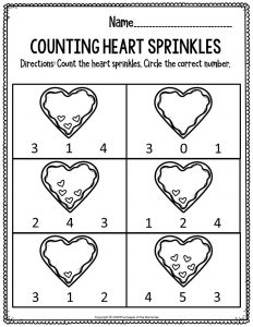 Printable Math Valentine's Day Preschool Worksheets Counting Heart Sprinkles