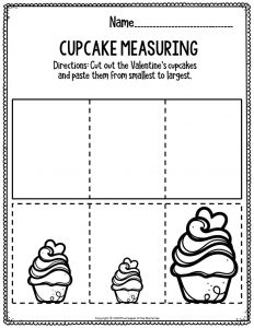 Printable Math Valentine's Day Preschool Worksheets Cupcake Measuring