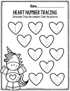Printable Math Valentine's Day Preschool Worksheets Heart Number Tracing