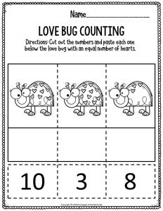 Printable Math Valentine's Day Preschool Worksheets Love Bug Counting