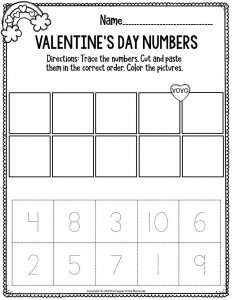 Printable Math Valentine's Day Preschool Worksheets Valentine's Day Numbers