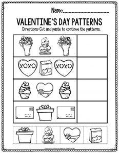 Printable Math Valentine's Day Preschool Worksheets Valentine's Day Patterns