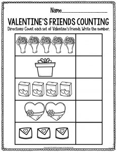 Printable Math Valentine's Day Preschool Worksheets Valentine's Friends Counting