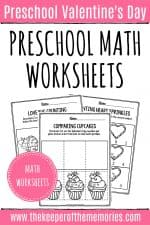 Printable Math Valentine's Day Preschool Worksheets