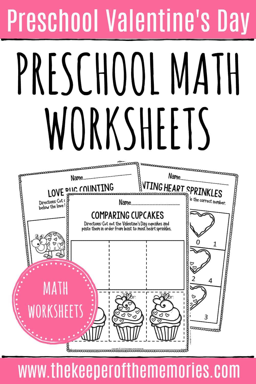 Printable Math Valentine's Day Preschool Worksheets