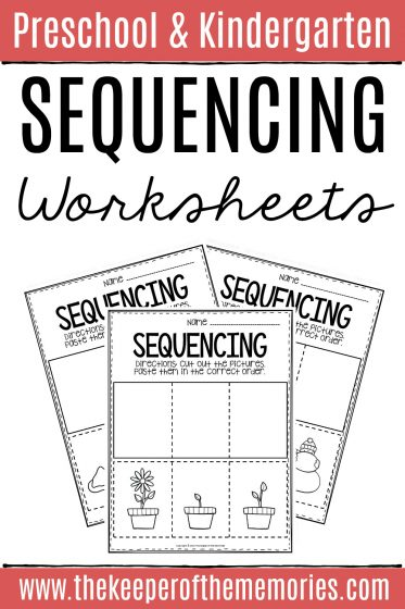Sequencing Cut & Paste Worksheets with text: Preschool & Kindergarten Sequencing Worksheets