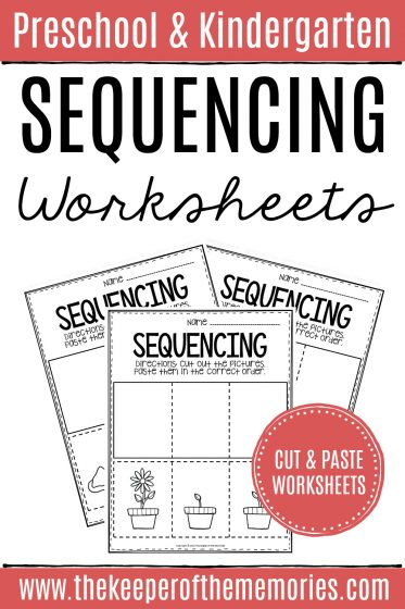 Sequencing Cut & Paste Worksheets with text: Preschool & Kindergarten Sequencing Worksheets Cut & Paste