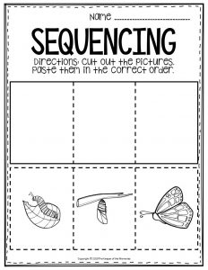 Sequencing Preschool Worksheets Butterfly