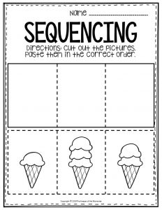 Sequencing Preschool Worksheets Ice Cream Cone