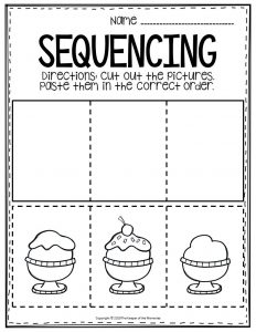 Sequencing Preschool Worksheets Ice Cream Sundae