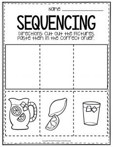 Sequencing Preschool Worksheets Lemonade