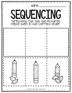 Sequencing Preschool Worksheets Pencil