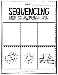 Sequencing Preschool Worksheets Rainbow