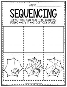 Sequencing Preschool Worksheets Spider Web
