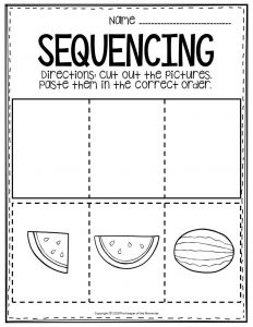 Sequencing Preschool Worksheets Watermelon