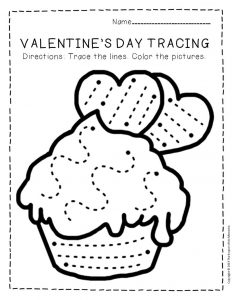 Tracing Valentine's Day Preschool Worksheets 3