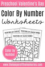 Color by Number Valentine's Day Preschool Worksheets
