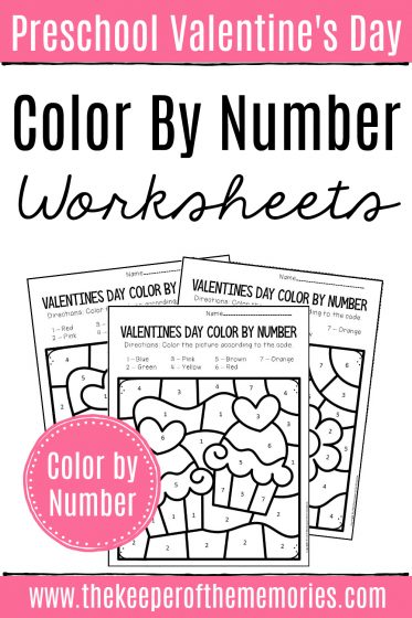 Valentine's Day Color by Number Preschool Worksheets with text: Preschool Valentine's Day Color by Number Worksheets Color by Number
