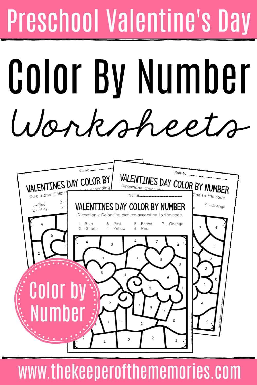 Color by Number Valentine's Day Preschool Worksheets
