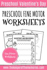 Printable Fine Motor Valentine's Day Preschool Worksheets