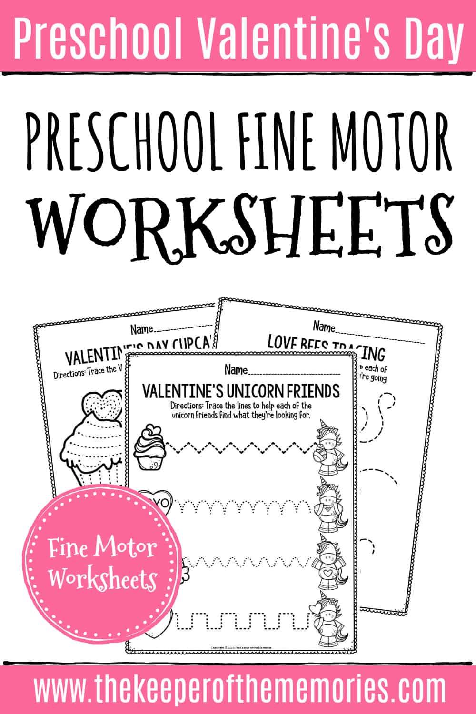 Printable Fine Motor Valentine's Day Preschool Worksheets