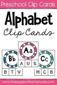 Capital Letter Alphabet Clip Cards