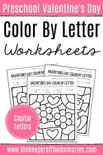 Color by Capital Letter Valentine's Day Preschool Worksheets