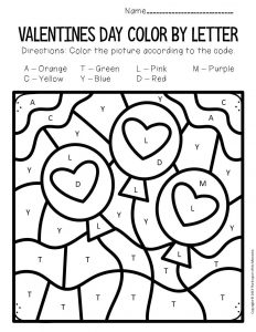 Color by Capital Letter Valentine's Day Preschool Worksheets Balloons