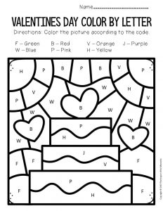Color by Capital Letter Valentine's Day Preschool Worksheets Cake