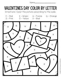 Color by Capital Letter Valentine's Day Preschool Worksheets Candy