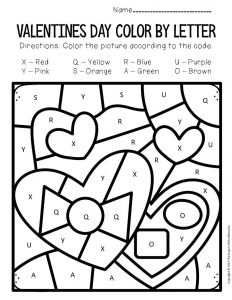 Color by Capital Letter Valentine's Day Preschool Worksheets Chocolates