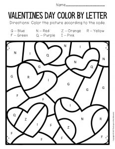 Color by Capital Letter Valentine's Day Preschool Worksheets Hearts