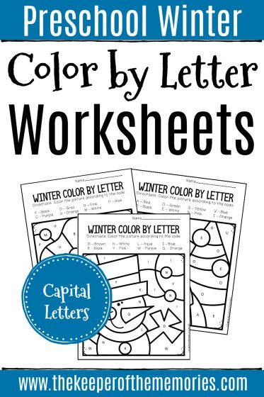 Color by Capital Letter Winter Preschool Worksheets with text: Preschool Winter Color by Letter Worksheets Capital Letters
