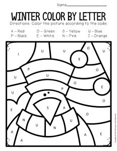Color by Capital Letter Winter Preschool Worksheets Bird