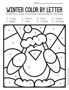 Color by Capital Letter Winter Preschool Worksheets Cute Penguin