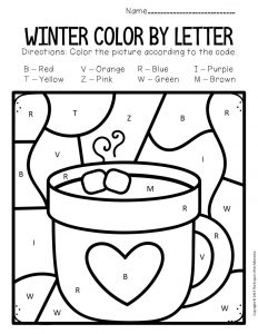 Color by Capital Letter Winter Preschool Worksheets Hot Chocolate