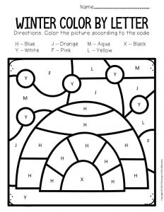 Color by Capital Letter Winter Preschool Worksheets Igloo