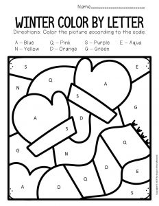 Color by Capital Letter Winter Preschool Worksheets Mittens