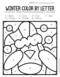 Color by Capital Letter Winter Preschool Worksheets Penguin