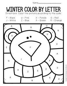 Color by Capital Letter Winter Preschool Worksheets Polar Bear