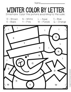 Color by Capital Letter Winter Preschool Worksheets Snowman