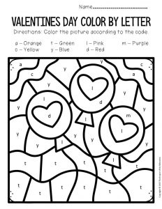 Color by Lowercase Letter Valentine's Day Preschool Worksheets Balloons