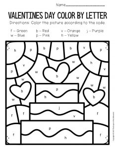 Color by Lowercase Letter Valentine's Day Preschool Worksheets Cake