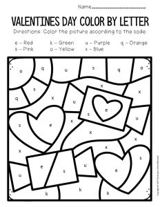 Color by Lowercase Letter Valentine's Day Preschool Worksheets Candy