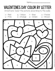 Color by Lowercase Letter Valentine's Day Preschool Worksheets Chocolates