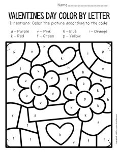 Color by Lowercase Letter Valentine's Day Preschool Worksheets Flowers