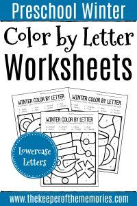 Color by Lowercase Letter Winter Preschool Worksheets with text: Preschool Winter Color by Letter Worksheets Lowercase Letters