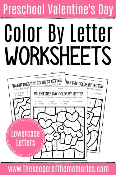 Color by Lowercase Letters Valentine's Day Preschool Worksheets