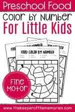Free Printable Color by Number Food Preschool Worksheets