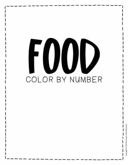 Color by Number Food Preschool Worksheets